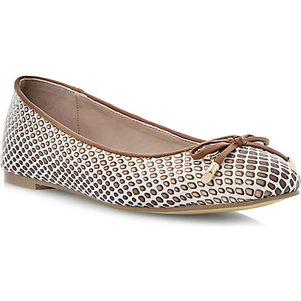 DUNE Meanda square toe ballerina pumps (Natural-reptile syntheti