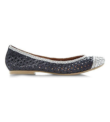 DUNE Madalyn woven leather ballerina pumps (Navy-leather