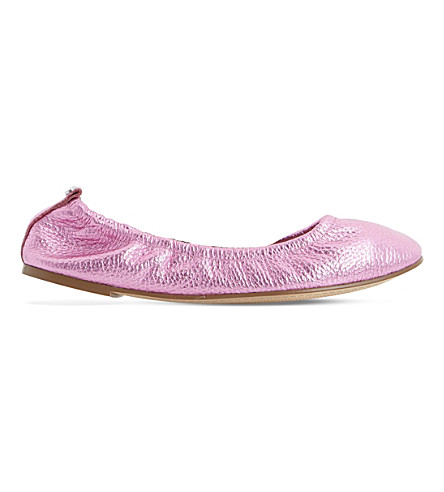 DUNE History leather ballerina pumps (Pink-metallic