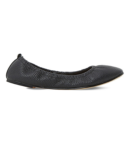 DUNE History elasticated leather ballet flats (Black-leather