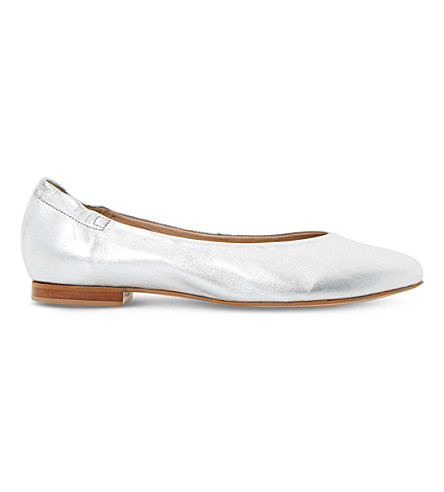DUNE Harvest metallic leather flats (Silver-leather
