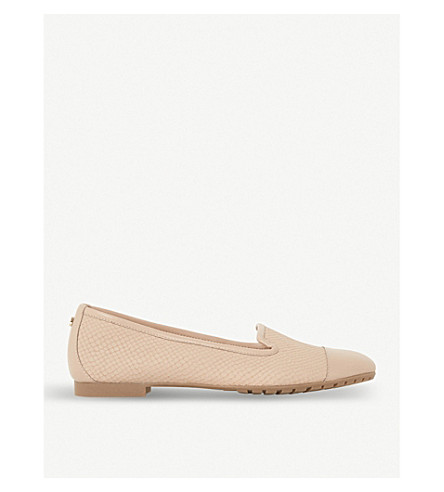 DUNE Genevene slip-on leather shoes (Nude-reptile