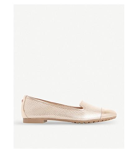 DUNE Genevene slip-on metallic leather shoes (Rose+gold-leather