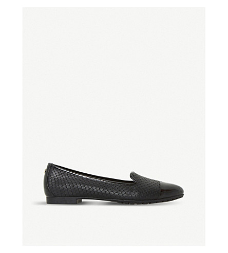 DUNE Genevene slip-on leather shoes (Black-reptile