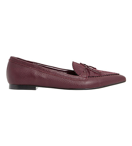 DUNE Georgette leather pointed-toe loafers (Burgundy-reptile