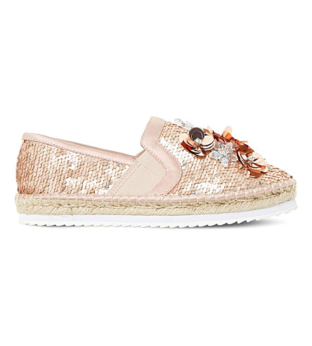 DUNE Glorious sequin embellished espadrilles (Rose+gold-metallic