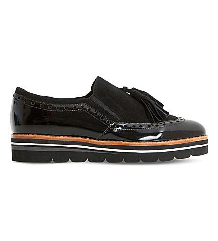 DUNE Glorya suede tassel flatform loafers (Black-suede