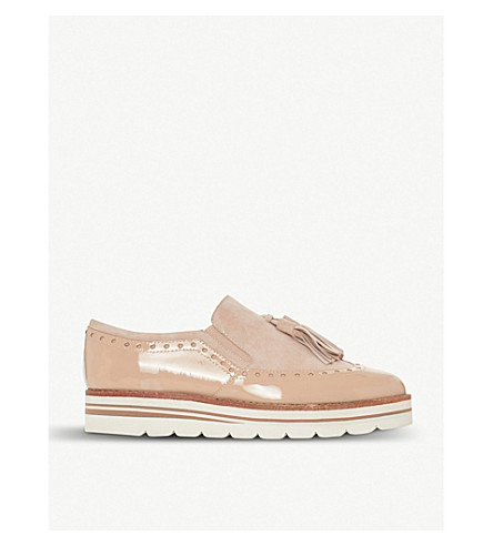 DUNE Glorya suede tassel flatform loafers (Nude