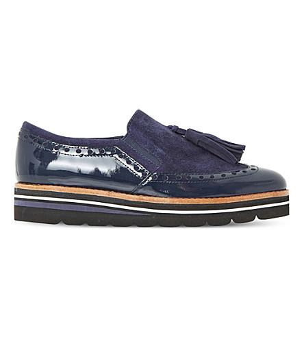 DUNE Glorya suede tassel flatform loafers (Navy-suede