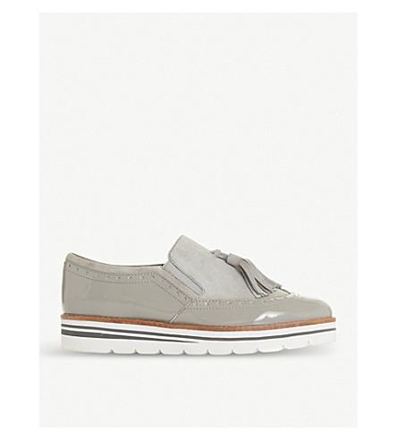 DUNE Glorya suede tassel flatform loafers (Grey-suede