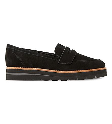 DUNE Gabryel suede flatform loafers (Black-suede