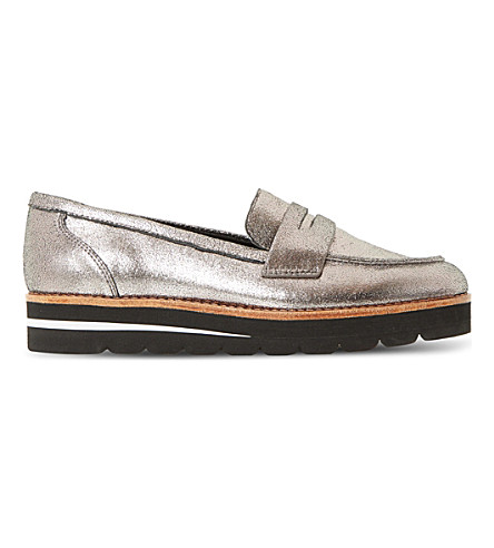 DUNE Gabryel metallic suede flatform loafers (Pewter-leather