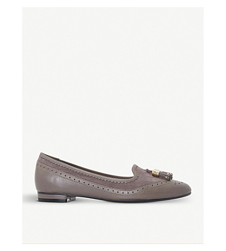 DUNE Gambie brogue-style suede tassel loafers (Grey-leather