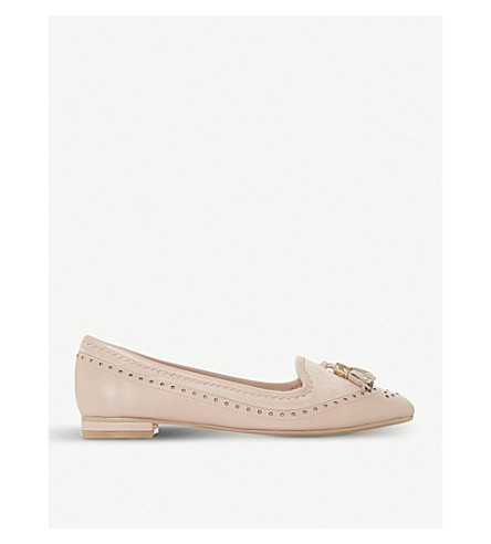 DUNE Gambie brogue-style suede tassel loafers (Blush-leather