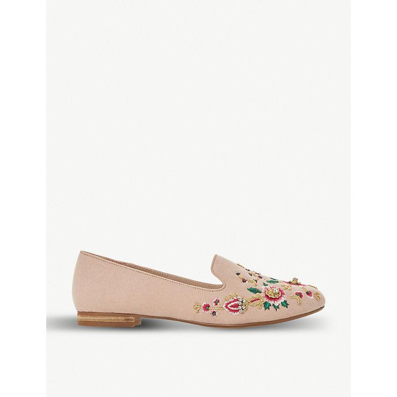 DUNE Giia flroal embroidered microfiber loafers