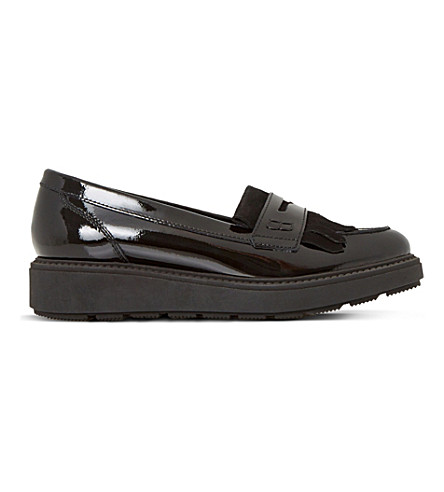 DUNE Griffin flatform patent loafers (Black-patent