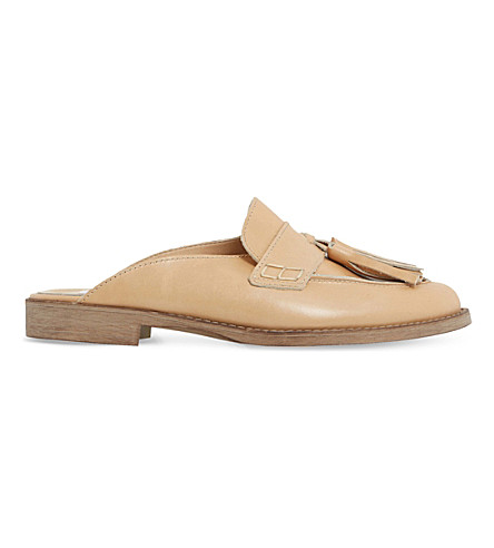 DUNE Gee leather backless loafers (Camel-leather