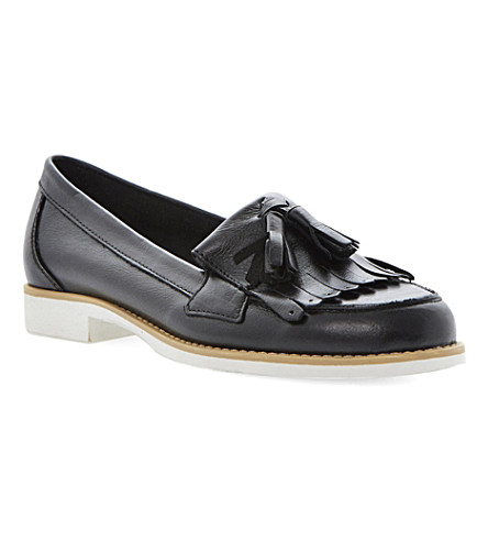 DUNE Lennon tasselled leather loafers (Black-leather