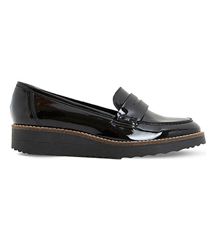 DUNE Graphic patent flatform loafers (Black-patent