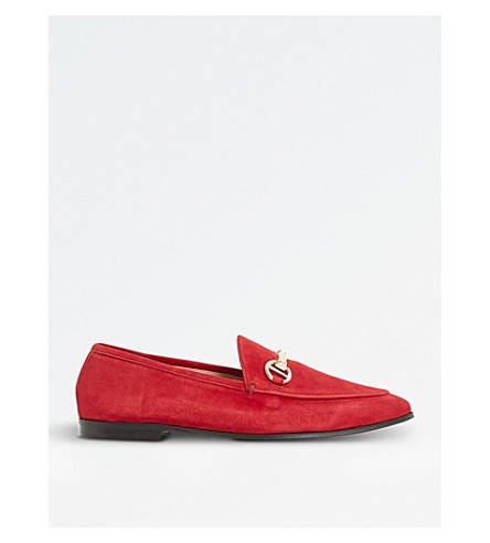 DUNE Guilt slip-on suede loafers (Red-suede
