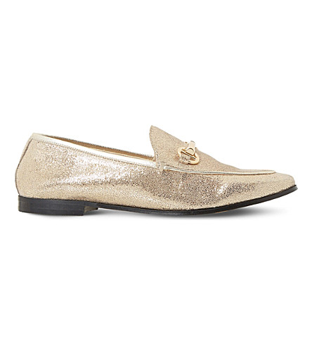 DUNE Guilt metal-trim leather metallic loafers