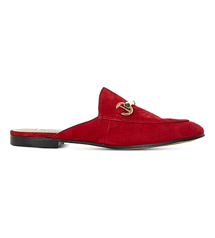 DUNE Gene suede backless loafers (Red-suede