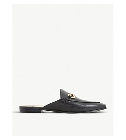 DUNE Gene leather backless loafers (Black-leather
