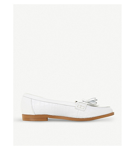 DUNE Georgy tassel-trimmed leather loafers (White-leather