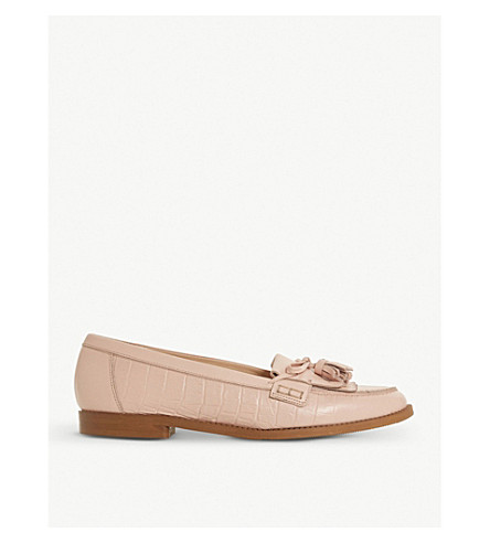 DUNE Georgy tassel-trimmed leather loafers (Blush-leather