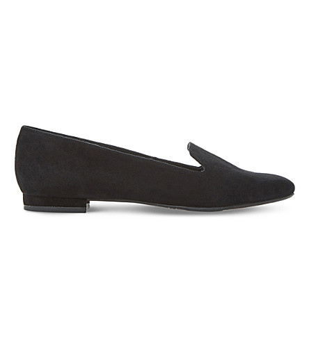 DUNE Gracious slip-on suede loafers (Black