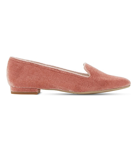 DUNE Gracious velvet loafers (Blush-velvet