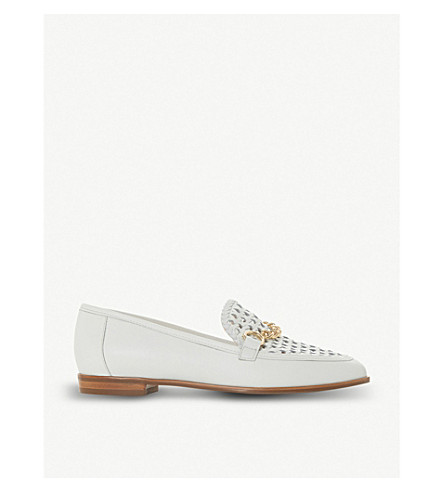 DUNE Galowe chain-detail leather loafers (White-leather