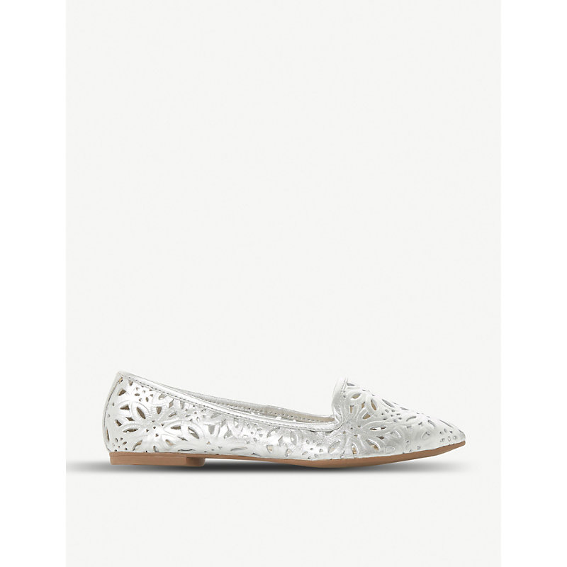 DUNE Galatia floral laser-cut metallic leather loafers