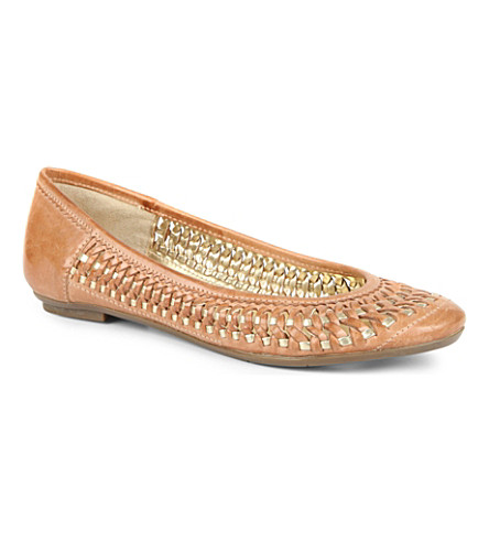DUNE Moren leather & suede ballet flats (Tan
