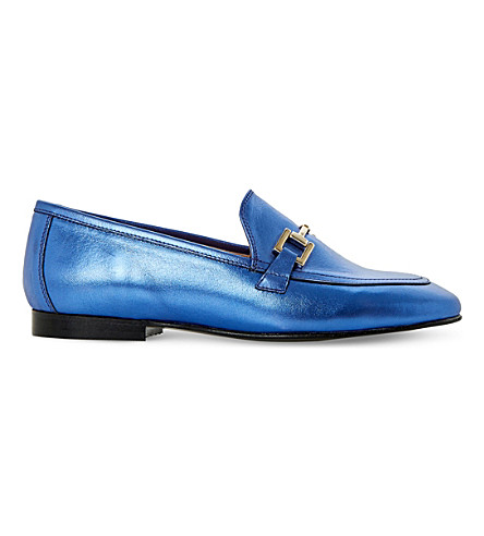 DUNE Guru metallic-leather loafers (Blue-metallic