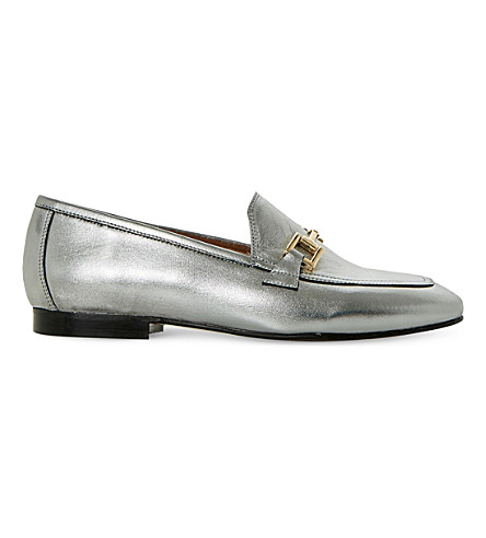 DUNE Guru metallic-leather loafers (Pewter-leather
