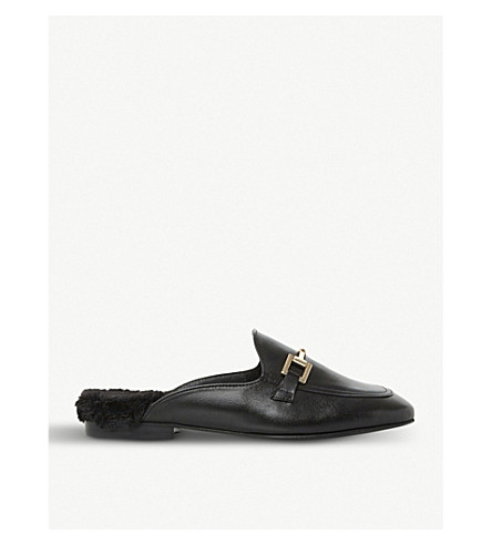 DUNE Gole leather backless loafers (Black-leather