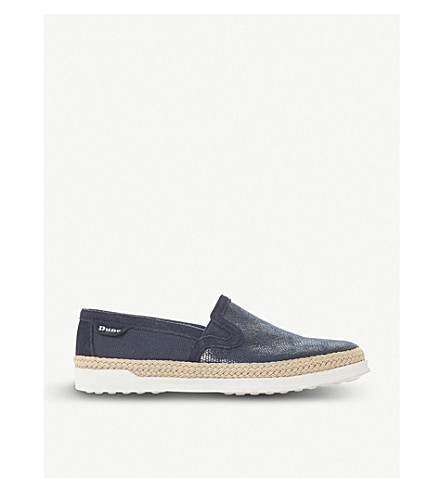 DUNE Goulding canvas flatform espadrille loafers (Navy-fabric