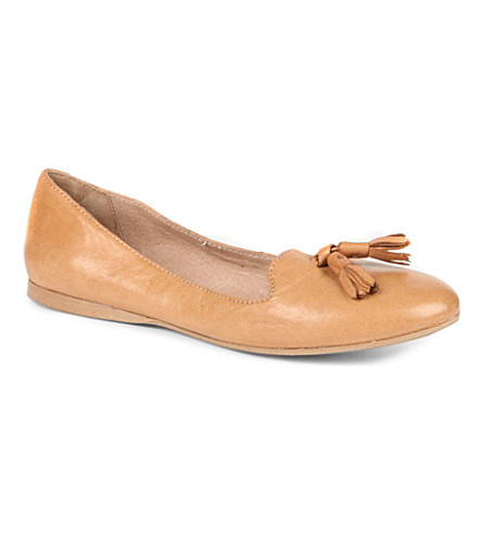 DUNE Longacres leather tassel slippers (Tan-leather