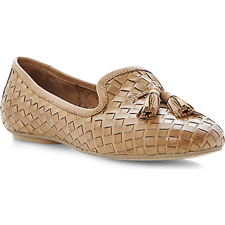 DUNE Lasso woven leather slippers (Tan-leather
