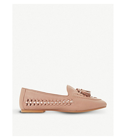 DUNE Gazele tassel woven leather loafers (Nude-leather