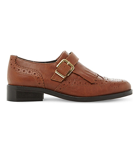 DUNE Gospel single monk leather shoes (Tan-leather