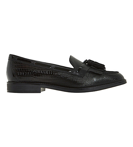 DUNE Goodness fringe tassel leather loafers (Black-leather