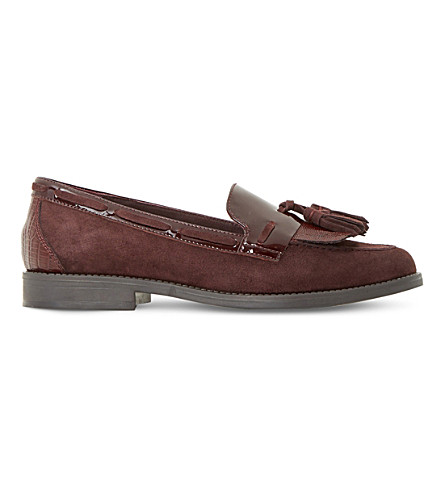 DUNE Goodness suede and patent leather loafers (Burgundy-leather