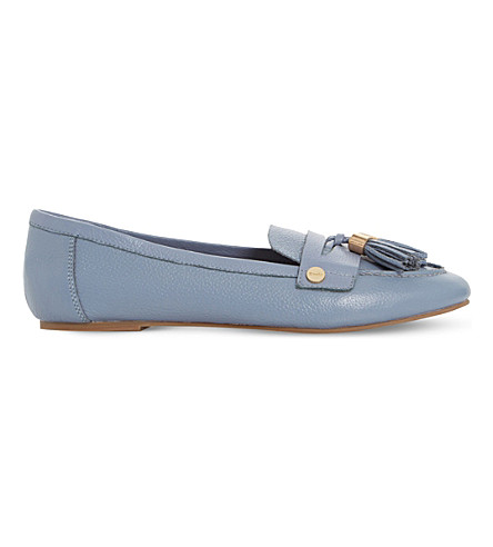 DUNE Gondola tassel trim leather loafers (Pale blue-leather