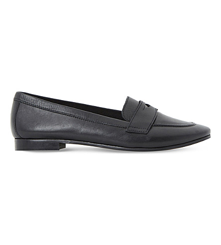 DUNE Galer leather penny loafers (Black-leather