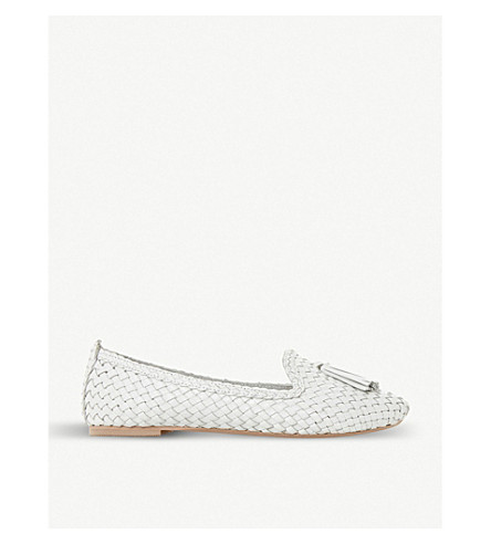 DUNE Ginnette woven leather loafer (White-leather
