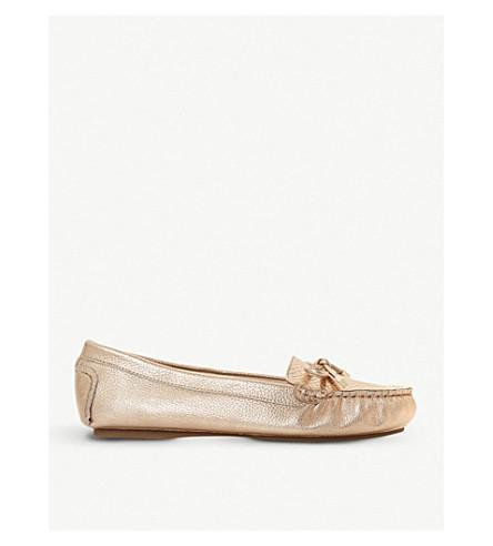 DUNE Geenova crocodile-embossed metallic leather loafers (Rose+gold
