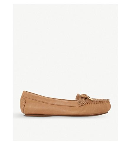 DUNE Geenova crocodile-embossed leather loafers (Tan-leather