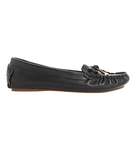 DUNE Genovia leather loafer flats (Black-leather